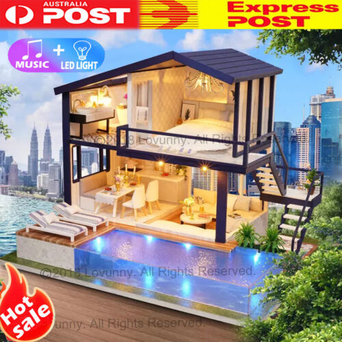 AU DIY LED Music Apartments Dollhouse Miniature Wooden Furniture Kit Doll House <br/> ⭐⭐⭐⭐⭐ 🔥Music + LED🔥Sydney Stock🔥Next Business Day🔥