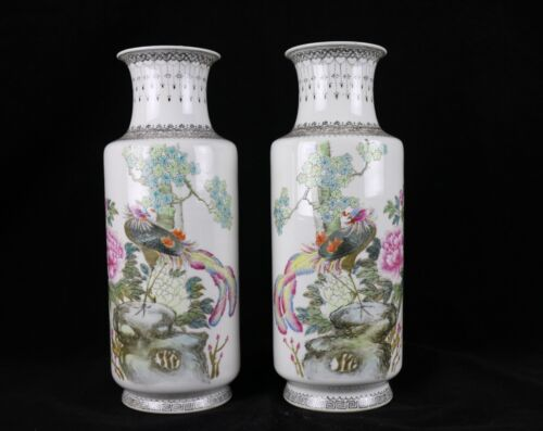 """Pair of Antique Chinese Porcelain 13"""" Vases  ~ Famille Rose Bird Floral Peony"""