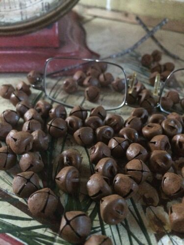 """(96) Primitive Rusty Tin JINGLE BELLS 10mm 3/8 in 3/8"""" Christmas Crafts"""