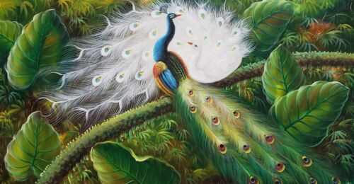 Two Peacocks,  24x48  100% Hand Painted Oil Painting on Canvas