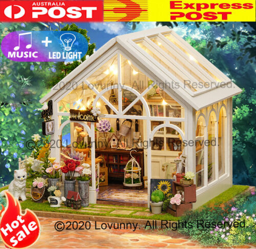 AU DIY LED Music Garden Dollhouse Miniature Wooden Furniture Kit Doll House Gift <br/> ⭐⭐⭐⭐⭐🔥Music+LED🔥Sydney Stock🔥Next Business Day🔥