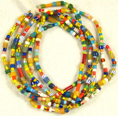 2 Long Strands Mix Color Glass CHRISTMAS African Trade Beads 2 to 8 mm long