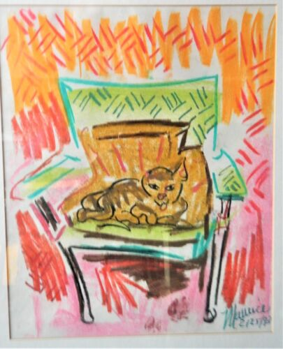 """Reduced! MAURICE HANSON Pastel Cat """"VINNIE WITH ONE EAR""""/ Signed / 1993/14"""" x17"""""""