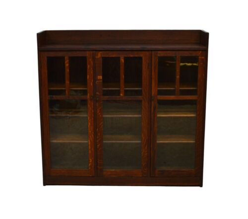 Limbert Antique Quartersawn Oak Mission Style Three Door Bookcase (A)