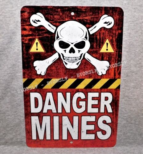 """Metal Sign MINES land mine field military war danger warning army prop 8"""" x 12""""Other Militaria - 135"""