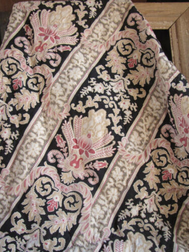 Quilt Antique French Art Nouveau pink blanket black linen back