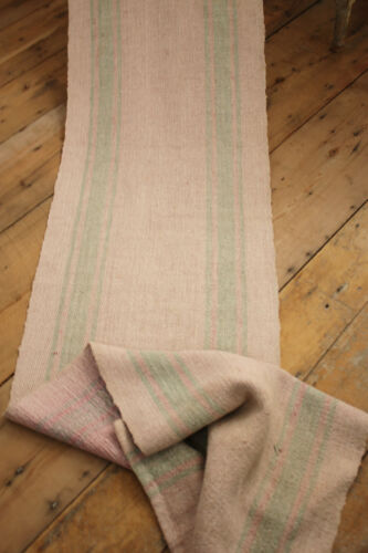 RUG Vintage European hemp stair runner striped pink & green carpet antique 1890