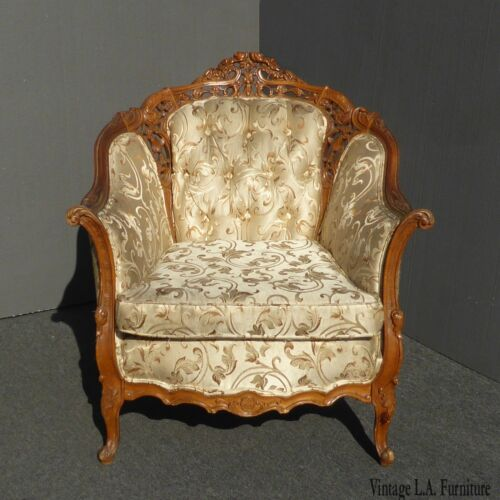Vintage French Provincial Rococo Tufted Accent Chair ~ Ornately Carved Wood