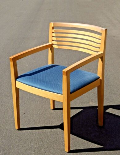Vintage Contemporary Modern Blue Seat Solid Wood Accent Chair by Knoll 1990's