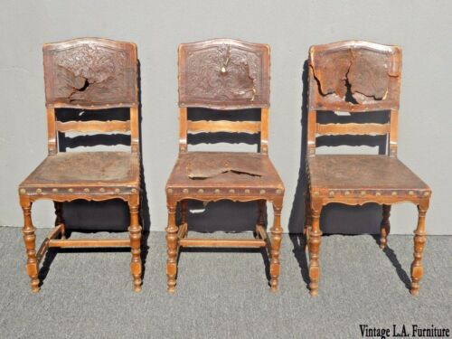 3 Antique Spanish Revival Embossed Leather Accent Chairs Decorative Nails / Pair