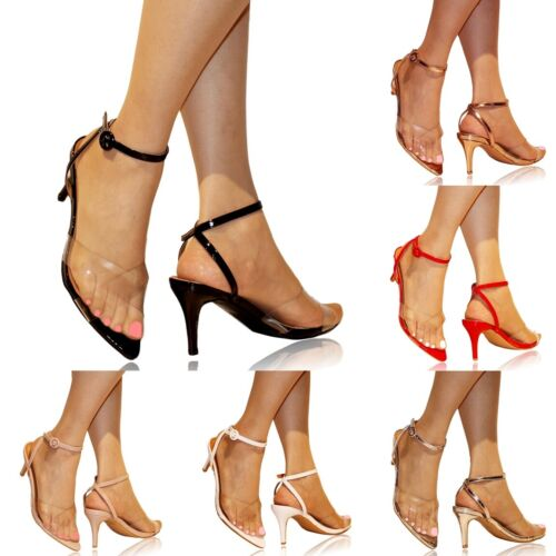 Womens Ladies Clear Low Mid Kitten 3 inch Heel Party Perspex Shoes Sandals -OMC8