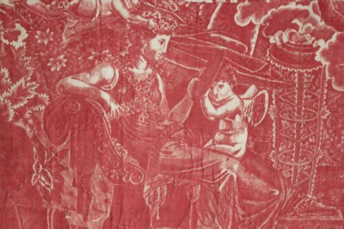Antique French early 19th century toile RARE bed curtain Cherub printed