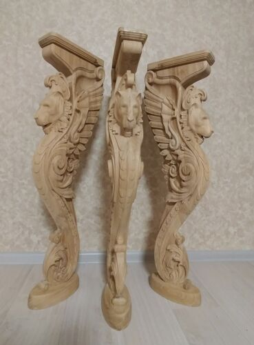 "38"" Wooden stairs Baluster Newel, oak carved  gryphon statue, decorative element"