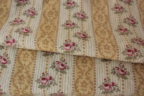 Fabric Antique French printed cotton 1910 khaki floral & stripe yellow gold