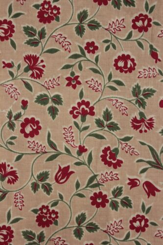 Fabric Printed cotton French 1930-1940's red & green material textile