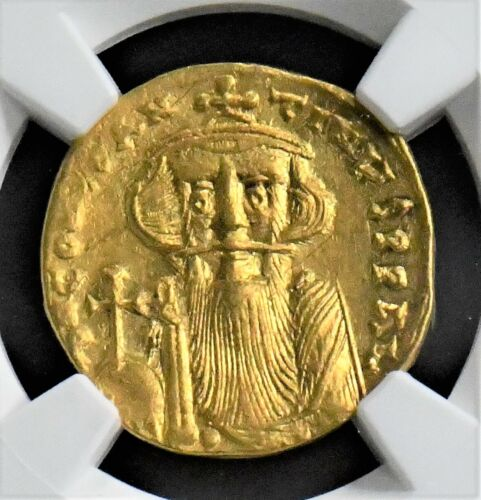 NGC CERTIFIED BYZANTINE GOLD SOLIDUS OF CONSTANS II