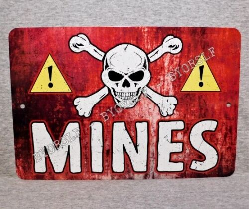 Metal Sign MINES land mine field military war danger warning army explosives US Other Militaria - 135