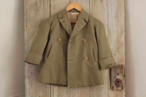 Child's Jacket or Coat green wool from Bell Jarniniere PARIS c1920 original tag