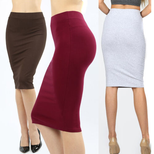 Womens Pencil Skirt Cotton Stretch Knit High Waist Knee Length Office Plus Reg