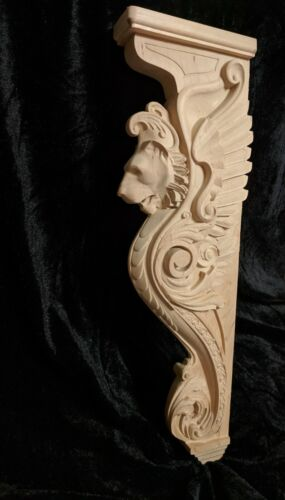 "30"" Lion Corbel, Wooden Corbel, Rustic Corbel, Fireplace Surround, lion art"