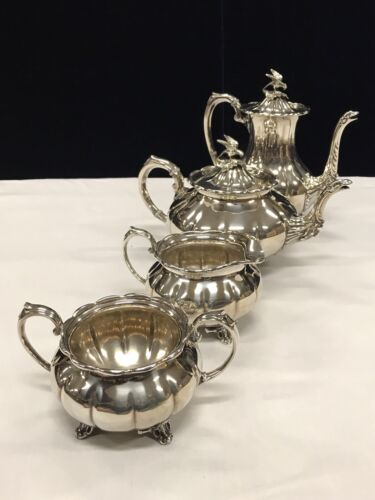 Vintage Cooper Bros Bird Design Silver-plate Tea & Coffee Set