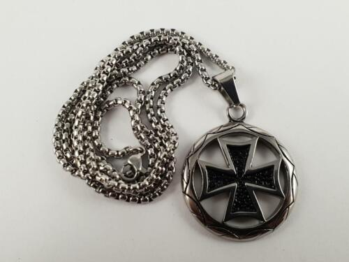 Stainless Steel Iron Cross pendant and necklace 60cm chain maltese nazi WW2
