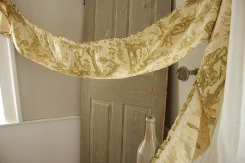 Small Valance or Ruffle Vintage French green toile de jouy fabric cotton textile