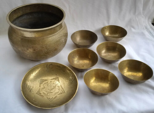 Group of 8 Antique Chinese Brass Bowls and Jardiniere Etched w/ Dragons