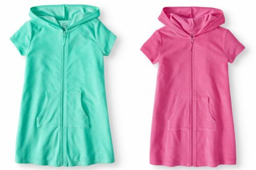 8456cbbd83 Girls Girl 4-18 Pink or Blue Hooded Full Zip Terry Swim Beach Cover Up