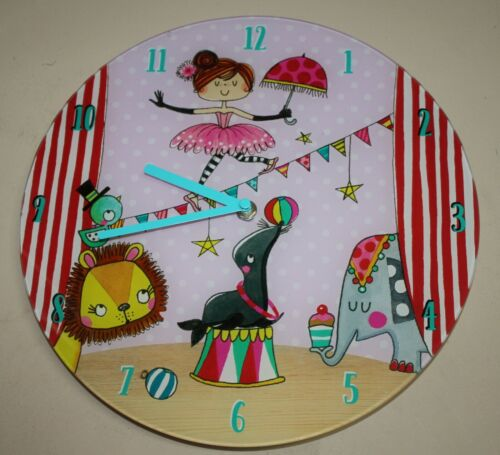 30cm Round Pink Circus Wall Clock  Girls Boys Bedroom