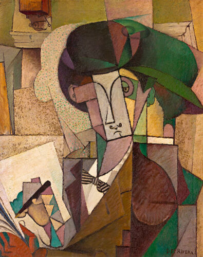 Young Man with a Fountain Pen by Diego Rivera A1+ High Quality Canvas Print