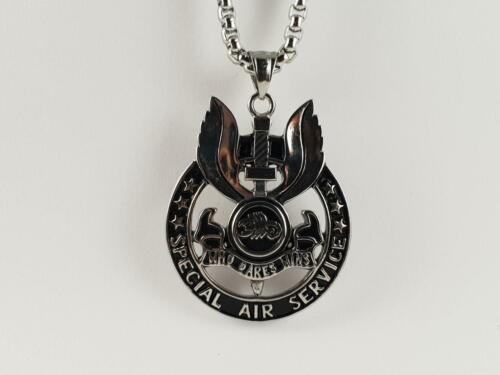 Stainless Steel SAS symbol pendant and necklace 60cm chain Army Who dares wins