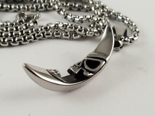 Stainless Steel Evil moon pendant and necklace 60cm chain Paul Booth crest biker