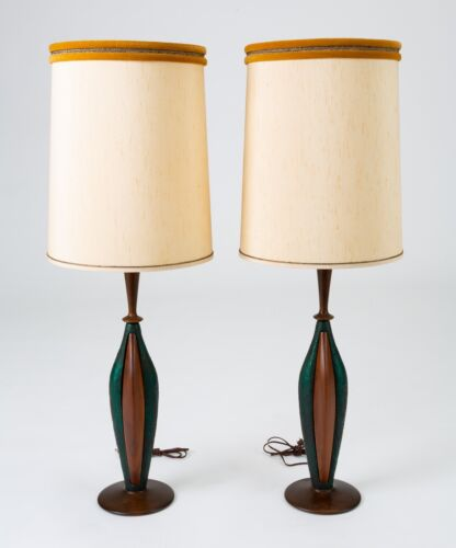 Pair Matched Mid Century Modern Walnut Resin Table Lamps Moderna Lighting 1950s