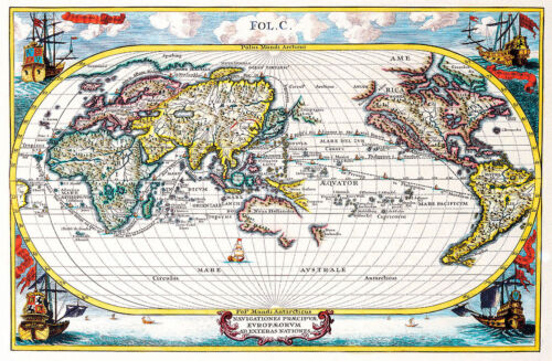 Map of the World 1700 A1 Vintage High Quality Canvas Art Print