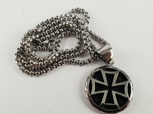 Stainless Steel Iron Cross biker pendant and necklace 60cm chain nazi maltese