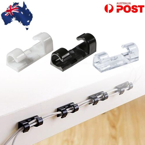Cable Clips Management Holder Cord Wire Line Organizer Self-Adhesive AU
