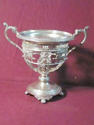 """Vintage German RANCE? 800 SILVER RETICULATED BOWL FRAME 8"""" X 8 3/4"""" ANIMALS"""