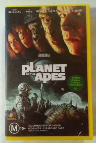 Planet Of The Apes VHS 2001 Sci-Fi Tim Burton Mark Wahlberg 20th Cent. FOX Large