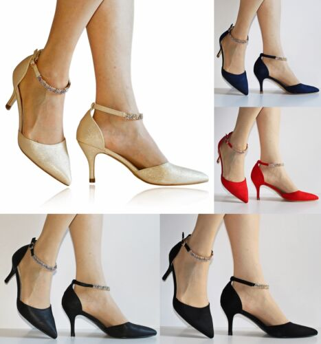 New Womens Ankle Strap Party Bridal Evening Low Mid Heel Court Shoes Size 388