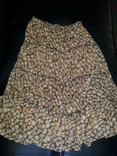 NEXT UK girls size 6 BROWN FLORAL TIERED LAYERED SKIRT