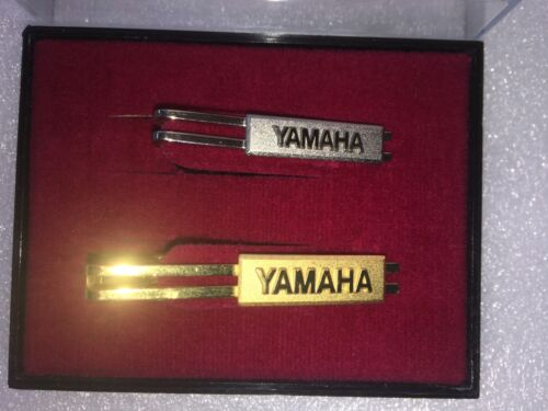 Tie Pin Set Yamaha Gold & Chrome in original case Made in Japan.