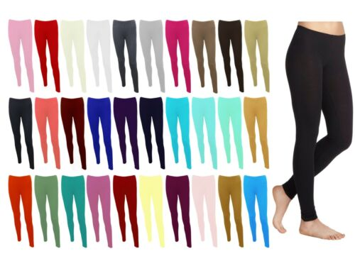 LADIES WOMENS VISCOSE LYCRA PLAIN STRETCHY SOFT LEGGINGS WITH ELASTICATED WAIST <br/>   UK SIZES 8 - 26   30 + COLOURS   2 WAY STRETCH  