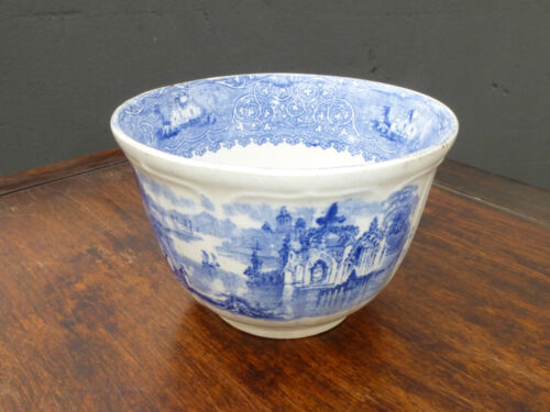 Vintage Blue & White Hand Painted Porcelain China Bowl 1800's