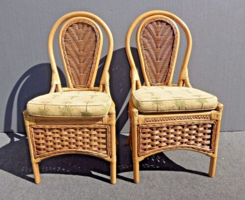 Pair Tommy Bahama Style Rattan Bamboo Bentwood Accent Chairs Leather Bindings