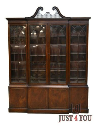 Baker Chippendale Mahogany 2 pc Breakfront China Cabinet