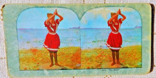 """ANTIQUE EARLY 1900's  STEREOVIEW CARD - #1073 """"THE DIVER"""""""