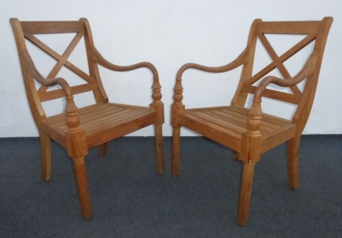Pair of Vintage Designer Teak Wood Arm Chairs w Cushions Tiki Palm Beach Style