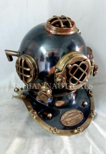 "US NAVY MARK V ANTIQUE DIVING DIVERS HELMET STEEL 18"" FULL SIZE MARITIME GIFT"