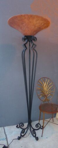 Tall Spanish Style Wrought Iron Floor Lamp w Upside Down Lampshade